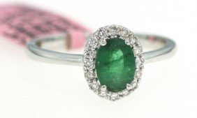14KT White Gold .73ct Emerald And Diamond Ring FJM893