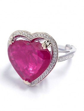 14KT White Gold 10.99ct Ruby And Diamond Heart Ring J17