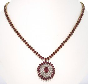 14KT Yellow Gold 47.81ct Ruby And Diamond Necklace RM38