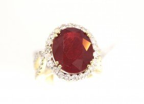 14KT Yellow Gold 13ct Ruby And Diamond Ring RM442