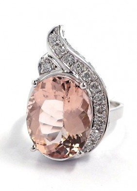 14KT White Gold 6.73ct Morganite And Diamond Ring A3168
