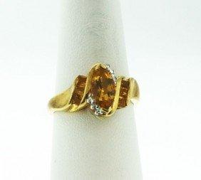10KT Yellow Gold Citrine & Diamond Ring GD64