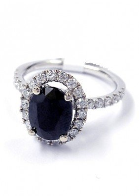 14KT White Gold 3.1ct Sapphire And Diamond Ring J10