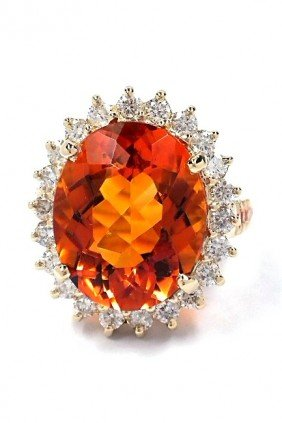 14KT Yellow Gold Citrine, Sapphire And Diamond Ring A36