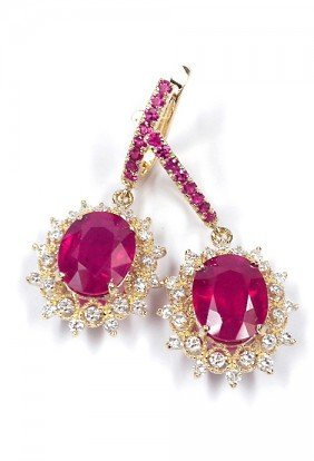 14KT Yellow Gold 11.04ct Ruby And Diamond Earrings A362
