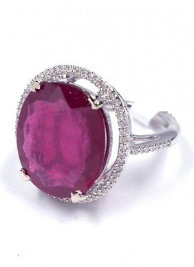 14KT White Gold 10.08ct Ruby And Diamond Ring J25