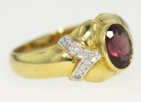 14KT Yellow Gold Garnet And Diamond Ring GD363