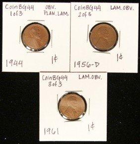 Lot Of 3 RARE Penny Lamination Error Coins CoinBG44