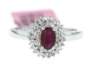 14KT White Gold .68ct Ruby And .23ct Diamond Ring FJM51