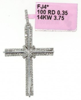 14KT White Gold .35ct Diamond Cross Pendant FJM646