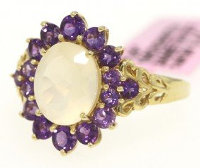 14KT Yellow Gold Moonstone And Amethyst Ring FJM828