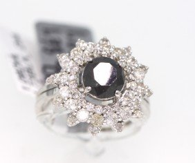14KT White Gold 2.81ctw Black And White Diamond Ring RM