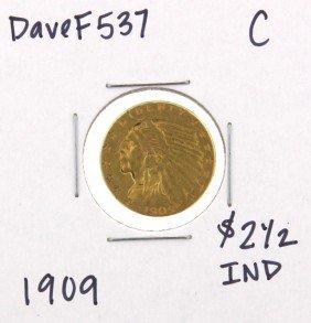 1909 $2-1/2 C Indian Head Quarter Eagle Gold Coin DaveF