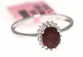 14KT White Gold 1.21ct Ruby And Diamond Ring FJM965