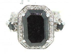 14KT White Gold 11.94ct Black And White Diamond Ring RM