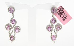 14KT White Gold Pink Sapphire And Diamond Drop Earrings