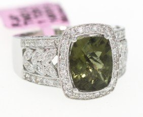 14KT White Gold 2.5ct Tourmaline And Diamond Ring FJM82