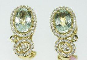 14KT Yellow Gold 3.06ct Aquamarine Earrings FJM1289