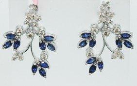 18KT White Gold 2.07ct Sapphire Earrings FJM1273