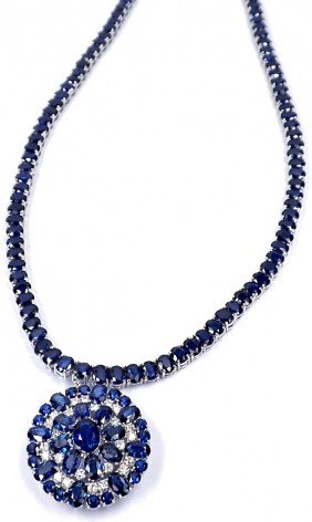 14KT White Gold 59.8ct Sapphire And Diamond Necklace A3