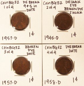 Assorted Lot Of 4 Misc Die Breaks CoinBG32