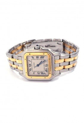 Two Tone Cartier Panthere Wristwatch A3682