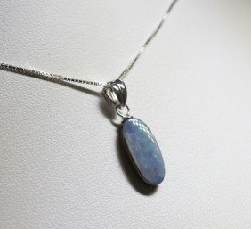 Sterling Silver Opal Doublet Necklace RTJ356
