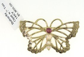 14KT Yellow Gold Tourmaline And Opal Butterfly Pendant/
