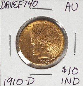 1910 $10 AU Indian Head Eagle Gold Coin DAVEF740