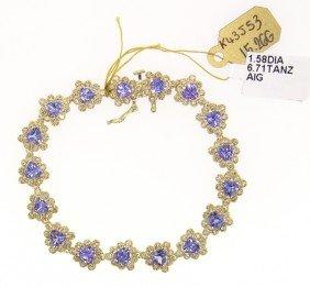 14KT Yellow Gold 6.71ct Tanzanite And Diamond Bracelet