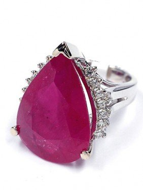 14KT White Gold 17.23ct Ruby And Diamond Ring J23