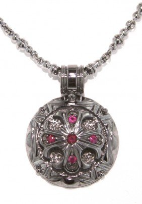 Black PVD Covered Sterling Silver And Ruby Round Cross