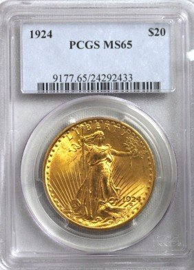 1924 $20 MS65 Saint Gaudens Double Eagle Gold Coin GFR2