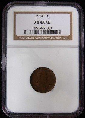 1914 1C Lincoln Penny AU58BN XX389