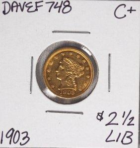1903 $2 1/2 C+ Liberty Head Quarter Eagle Gold Coin DAV