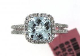 14KT White Gold 2.08ct Aquamarine And Diamond Ring FJM1