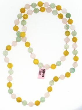 Multi-Colored Quartz And Jade Necklace FJM929