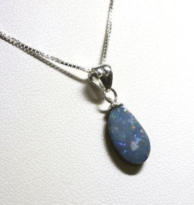 Sterling Silver Opal Doublet Necklace RTJ407