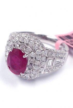 18KT White Gold 2.06ct Ruby & Diamond Ring FJM1438