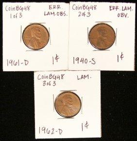 Lot Of 3 RARE Penny Lamination Error Coins CoinBG48