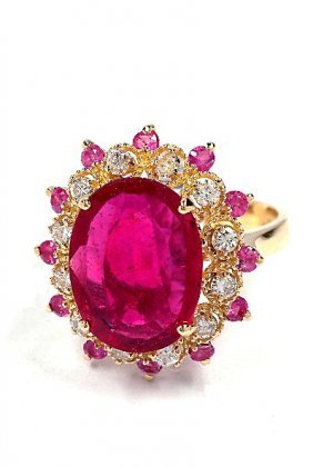14KT Yellow Gold 4.41ct Ruby And Diamond Ring A3646