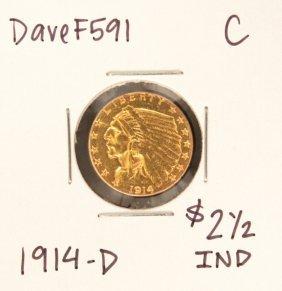 1914-D $2-1/2 C Indian Head Quarter Eagle Gold Coin Dav