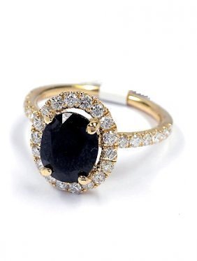 14KT Yellow Gold 3.2ct Sapphire And Diamond Ring J16