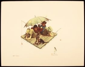 "Norman Rockwell ""Me And My Pal, Fisherman's Paradise"" F"