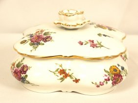 Vintage Hand Painted Porcelain Covered Dish France WBL4