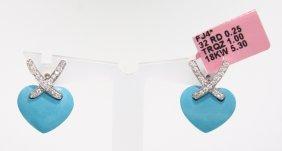 18KT White Gold Turquoise Heart And Diamond Earrings FJ