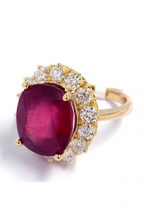 14KT Yellow Gold 10.05ct Ruby And Diamond Ring A3452