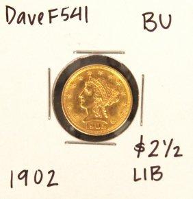 1902 $2-1/2 BU Liberty Head Quarter Eagle Gold Coin Dav