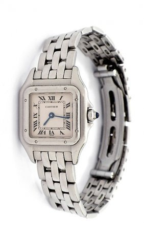 Ladies Stainless Steel Cartier Panthere Wristwatch A329