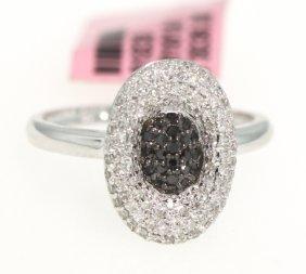 14KT White Gold .51ct Black And White Diamond Ring FJM1
